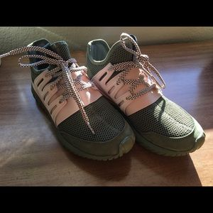 Addidas Custom green and pink shoes 6.5